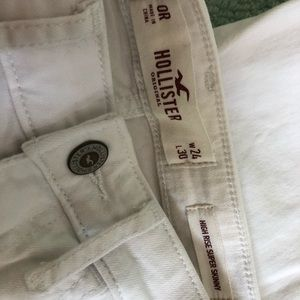 Hollister high rise skinny white ripped jeans